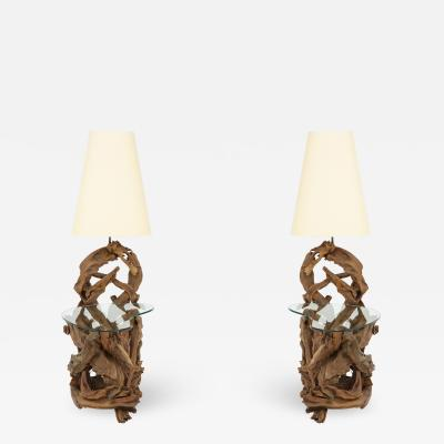 Pair of Driftwood Lamp Tables