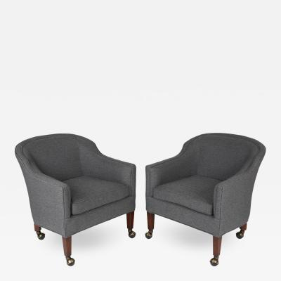 Pair of Dunbar Style Barrel Chairs on Casters