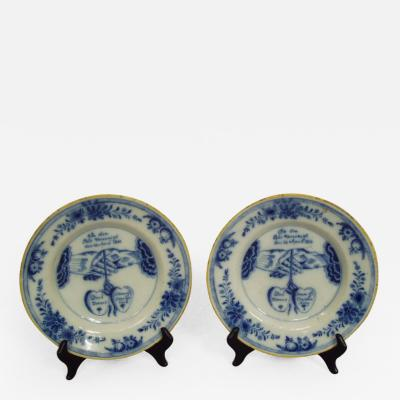 Pair of Dutch Blue and White Plates Dated 1803