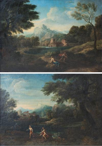Pair of Early 18th Century Allegorical Landscapes Oil on Canvas Roman School