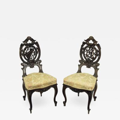 Pair of Early 1900s Hand Carved Walnut French Regency Music Chairs