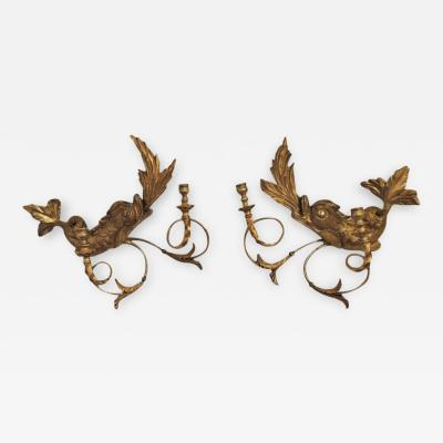Pair of Early 19th C American Dolphin Giltwood Sconces