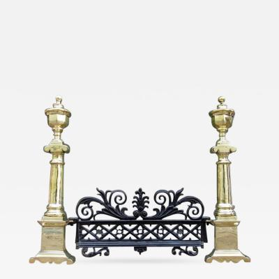 Pair of Early 19th Century Charleston Neoclassical Brass Andirons with Fender