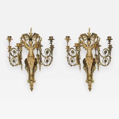 Pair of Early 19th Century Italian Neoclassical Gilt Figural Six Light Sconces