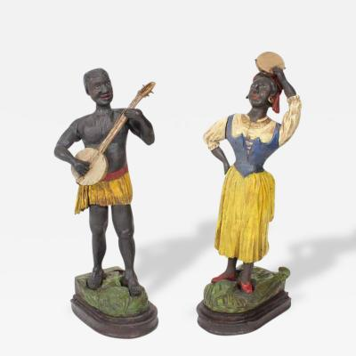 Pair of Early 20th C Carved and Painted Caribbean Musician Figures