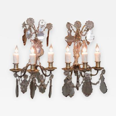 Pair of Early 20th C French Louis XIV Crystal and Bronze Sconces