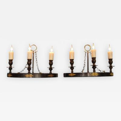 Pair of Early 20th Century Italian Empire Patinated Bronze Demilune Sconces
