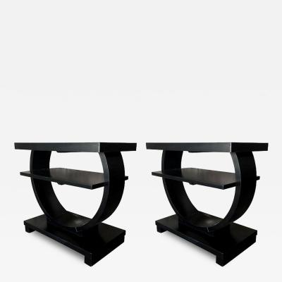 Pair of Ebonized Art Deco End Tables