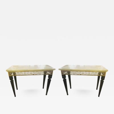 Pair of Ebonized Marble Top Consoles Featuring Bronze Greek Key Pattern Design