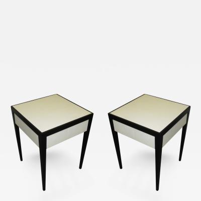 Pair of Ebonized Parchment Side Tables with Drawer