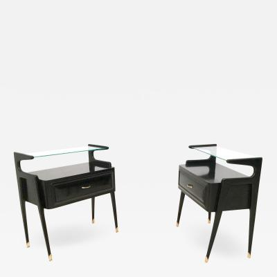 Pair of Ebonized Wood Nightstands with a Glass Top Italy 1950s