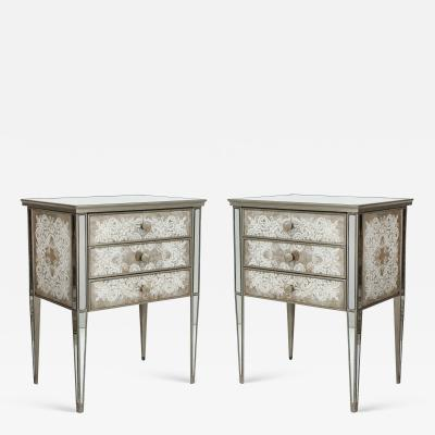 Pair of Eglomis Mirrored Tables