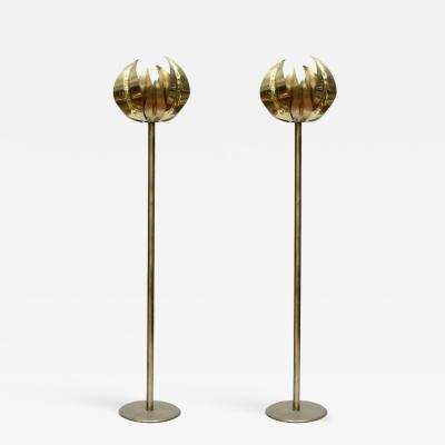 Pair of Elegant Brass Floor Lamps