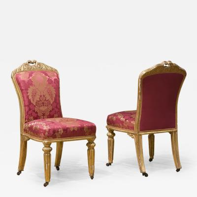 Pair of Elegant Italian Gilt Side Chairs