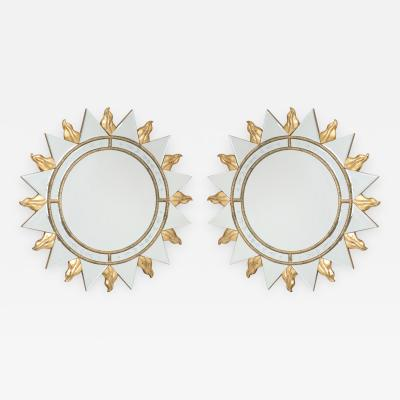 Pair of Elegant Sunburst Mirrors