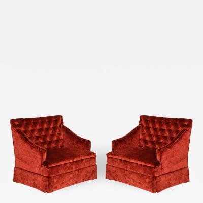 Pair of Elegant Tufted High Back Settees
