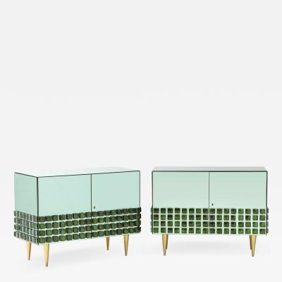 Pair of Emerald Green Mirrored Murano Glass and Brass Sideboards Italy 2021