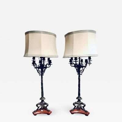 Pair of Empire 19th Century Bronze and Rouge Marble Base Candelabra Lamps