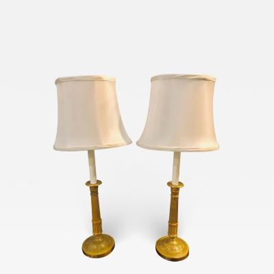 Pair of Empire Bronze Candleprick 19th Century Table Lamps with Custom Shades