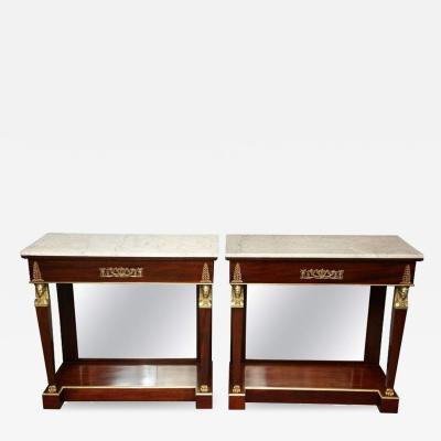 Pair of Empire Marble Top Consoles
