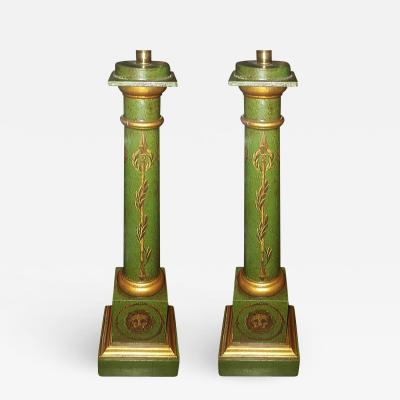 Pair of Empire Painted Column Lamps