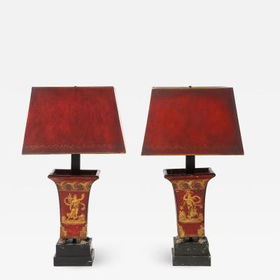 Pair of Empire Red Tole Peinte Cachepots Mounted as Lamps