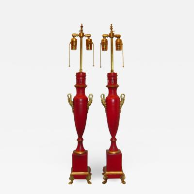 Pair of Empire Red Tole Table Lamps