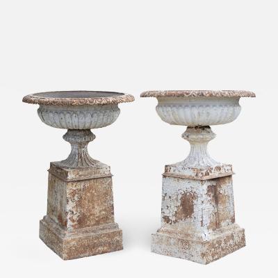 Pair of English 19th Century Cast Iron Garden Urns