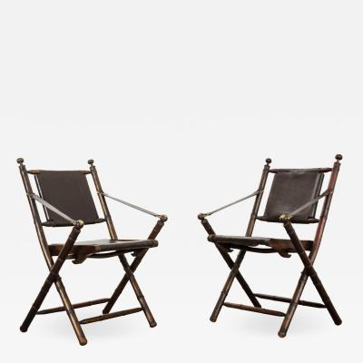 Pair of English 19th Century Folding Campaign Chairs