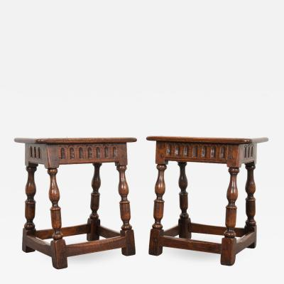Pair of English 19th Century Oak Joint Stools