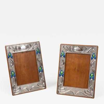 Pair of English 20th Century Art Nouveau Silver and Enamel Photograph Frames