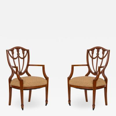 Pair of English Adam Style Shield Back Chairs