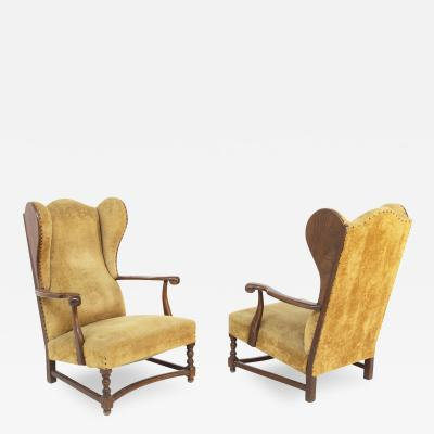 Pair of English Armchairs in Velvet and Walnut Wood from the Late 19th Century