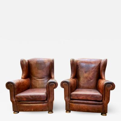 Pair of English Art Deco Leather Chairs
