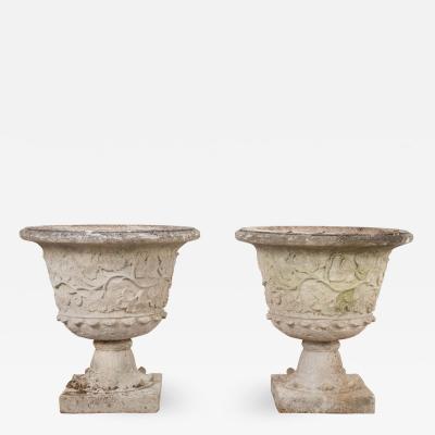 Pair of English Cast Stone Garden Urns