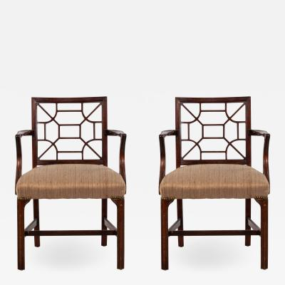 Pair of English Chinese Chippendale Style Arm Chair Pair