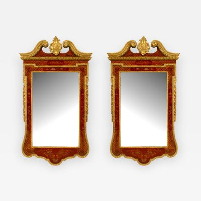Pair of English Georgian Chinoiserie Decorated Wall Mirrors