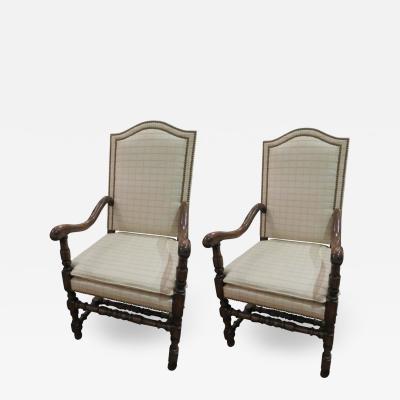 Pair of English Jacobean Revival Oak Wood Armchairs