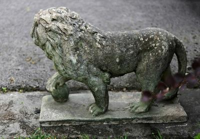 Pair of English Large Cast Stone Medici Lions