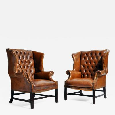 Pair of English Leather Wing Back Armchairs