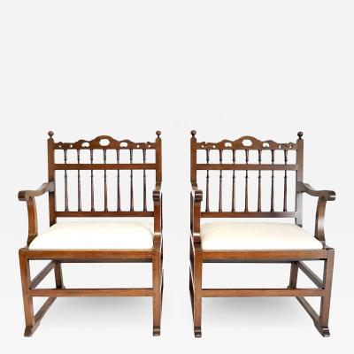 Pair of English North Country Drunkards Arm Chairs