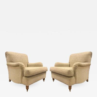 Pair of English Oversized Upholstered Lounge Chairs