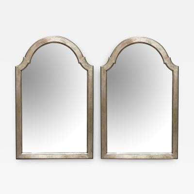 Pair of English Queen Anne Style Silver leafed Giltwood Mirrors