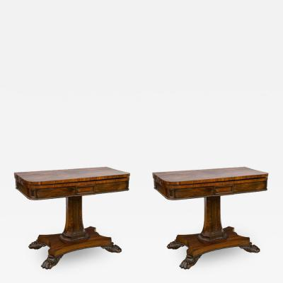 Pair of English Regency Rosewood Game Tables