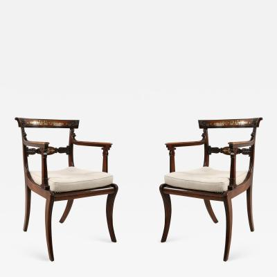 Pair of English Regency Style Brass Inlaid Oak and Cane Armchair