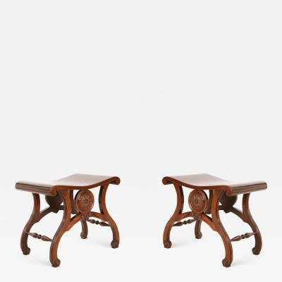 Pair of English Regency Style Carved Mahogany Benches