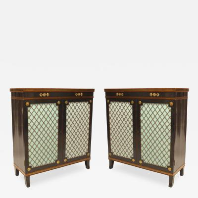 Pair of English Regency Style Ebonized Trill Doors Commodes
