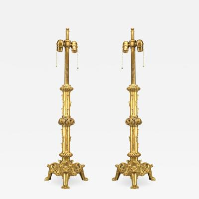 Pair of English Renaissance Style Brass Column Table Lamps