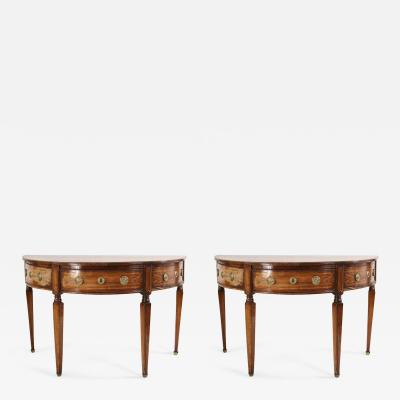 Pair of English Sheraton Style Demilune Inlaid Oak Console Tables