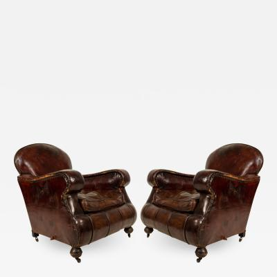 Pair of English Victorian Brown Leather Club Chairs